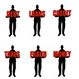 Silhouette Men Holding Words. An illustration featuring your choice of 6 male silhouettes holding different financial related terms - debt, loans, credit, taxes Stock Photo