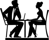 Silhouette of men and woman a talks, business meeting, people of work Stock Photography