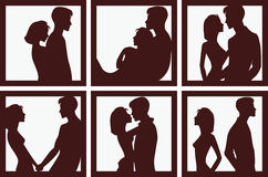 Silhouette of men and women in different situations vector illustration