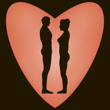 Silhouette men and women in the heart Stock Photography