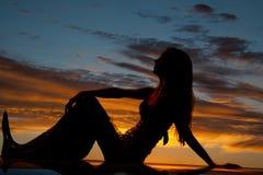 Silhouette mermaid hand knee profile