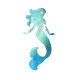 Silhouette of mermaid. White background. Vector illustration Vector Illustration