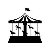Silhouette merry Go Round with horses. Illustration Royalty Free Stock Image
