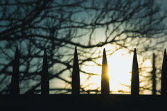Silhouette of metal spikes royalty free stock images