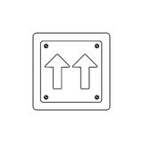 silhouette metallic square frame same direction arrow road traffic sign Royalty Free Stock Photo
