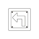 silhouette metallic square frame turn left traffic sign Royalty Free Stock Photo