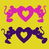 Silhouette of Mickey Mouse boy and girl kiss the heart, an ill. Ustration for Valentine`s Day on a yellow background, vector Royalty Free Stock Photo
