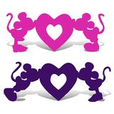 Silhouette Mickey Mouse boy and girl kiss the heart, an illust. Ration for Valentine`s Day on a white background, vector Royalty Free Stock Image