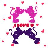 Silhouette of Mickey Mouse boy and girl kissing, an illustrati. On for Valentine`s Day on a white background with hearts and the inscription `I Love You`, vector Royalty Free Stock Photography