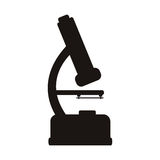 Silhouette microscope of laboratory with magnifying glass Royalty Free Stock Photography