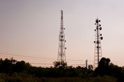 Silhouette microwave transmission tower 01 Royalty Free Stock Photo
