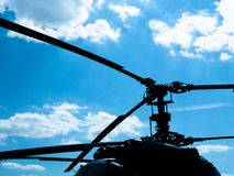 Silhouette of military helicopter stock photo