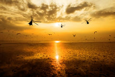 Silhouette of the military helicopter  moving into sky at sunset Stock Image