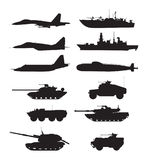 Silhouette of military machines support. Aircraft forces. Army vehicles and warships. Military aircraft and warship, vector illustration Royalty Free Stock Photography