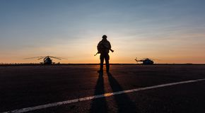 Silhouette of a military man Stock Image