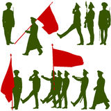 Silhouette  military people  with flags collection Royalty Free Stock Images