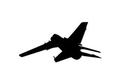 Silhouette of military plane Stock Images