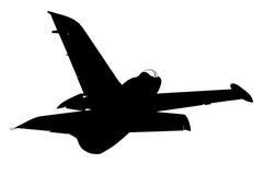 Silhouette of military plane Stock Photo