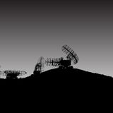 Silhouette  military radar dish. Vector illustration. Royalty Free Stock Photography