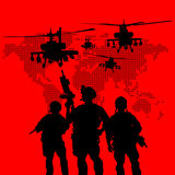 Silhouette of military soldiers Stock Photos