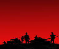 Silhouette of military soldiers team or officer with weapons and Royalty Free Stock Image