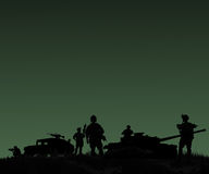 Silhouette of military soldiers team or officer with weapons and Stock Photos