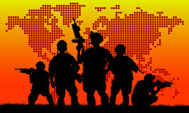 Silhouette of military team Royalty Free Stock Photo