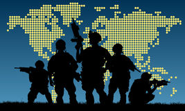 Silhouette of military team with weapons Stock Photos