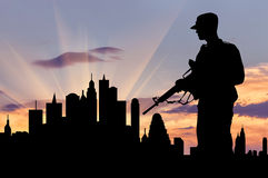 Silhouette of military weapons Royalty Free Stock Photo