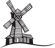 Silhouette of mill Stock Images