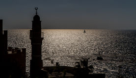 Silhouette of minaret in Old Jaffa Stock Photos