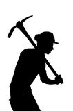 Silhouette of a Mine worker with helmet Stock Image