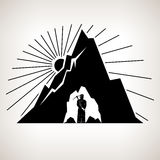 Silhouette Miner and Mountain. Miner Holding a Pickax  in the Bowels of Mountains on a Background the Sunburst, Mining Industry, Black and White Vector Stock Photo
