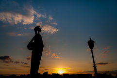 Silhouette of the Minerva statue in Antwerp Stock Photos