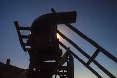 Silhouette of Mining Gear Stock Image