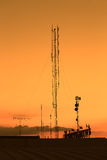 Silhouette mobile antenna tower Royalty Free Stock Image