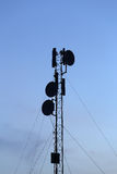 Silhouette mobile antenna tower Stock Image