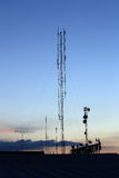 Silhouette mobile antenna tower Stock Photos