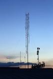 Silhouette mobile antenna tower Stock Photos