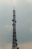 Silhouette mobile antenna tower Royalty Free Stock Images