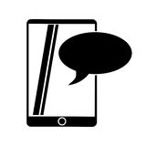 Silhouette mobile device chat dialog design Stock Images