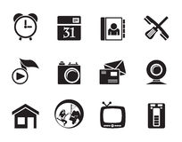 Silhouette mobile phone and computer icons Royalty Free Stock Images