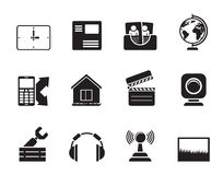 Silhouette Mobile phone and computer icons Royalty Free Stock Photography
