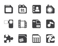 Silhouette Mobile Phone, Computer and Internet Icons Stock Images