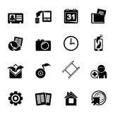 Silhouette Mobile phone menu icons Stock Photos