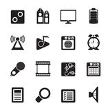 Silhouette Mobile phone performance, internet and office icons stock illustration