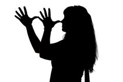 Silhouette of mocking woman Royalty Free Stock Photos