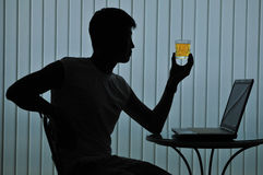 Silhouette of modern casual man Stock Photos
