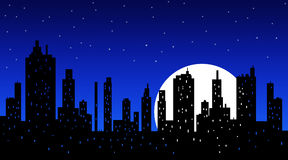 Silhouette of modern city skyscrapers at night Stock Images