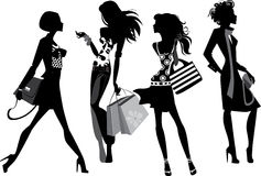 Silhouette of a modern women. Black and white vector illustration of silhouette fashionable women Stock Illustration